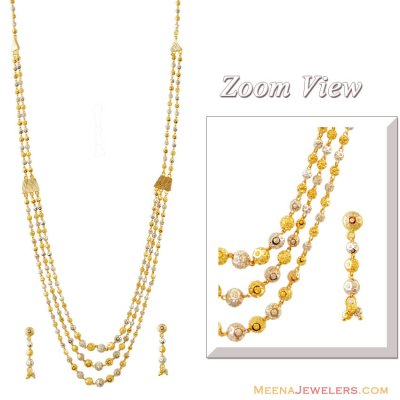 22K 2 Tone Layered Necklace Set ( 22 Kt Gold Sets )