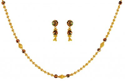 22kt Gold Meena Necklace Set ( Light Sets )