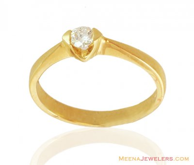 18K Solitaire Diamond Ring Gold ( Diamond Rings )