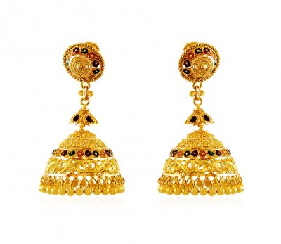22k Gold Jhumki earrings ( 22Kt Gold Fancy Earrings )