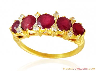 Designer Ruby Ring 22k Gold ( Ladies Rings with Precious Stones )
