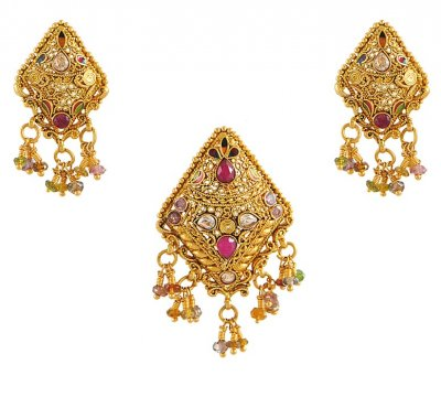 22Kt Gold Pendant Set ( Antique Pendant Sets )