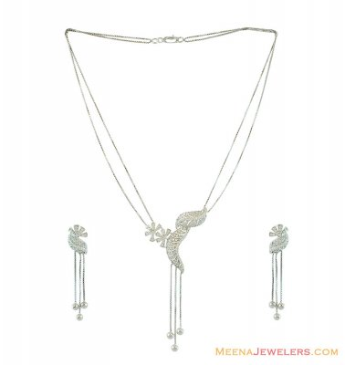 White Gold Necklace Set 18K ( White Gold Sets )