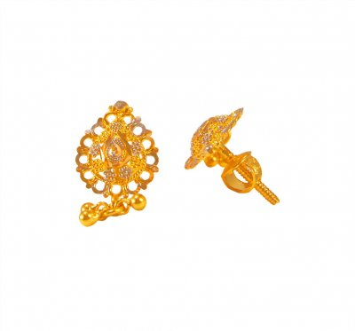 22kt Gold Two Tone Earrings ( 22 Kt Gold Tops )