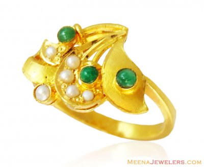 22k Ladies Emerald Pearls Gold Ring ( Ladies Rings with Precious Stones )
