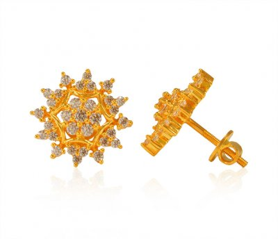 22Kt Gold Tops with CZ  ( Signity Earrings )