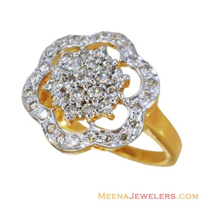 18k Yellow Gold Floral Diamond Ring ( Diamond Rings )