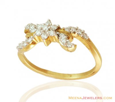 18K Delicate Diamond Gold Ring ( Diamond Rings )