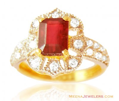 Beautiful Ruby 22K Ring ( Ladies Rings with Precious Stones )