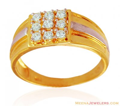 Gold Designer Two Tone Mens Ring ( Mens Signity Rings )