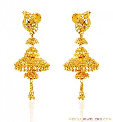 Layered Chandelier Gold Earrings ( 22Kt Gold Fancy Earrings )