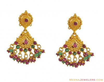 22Kt Earrings with Precious Stones ( Precious Stone Earrings )