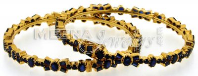 22 Kt Gold Bangles with Blue Sapphires Stones ( Precious Stone Bangles )