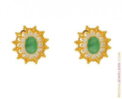 CZ and emerald Earring in 22k Gold ( Precious Stone Earrings )