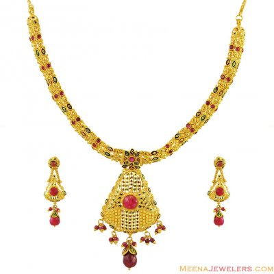 22K Elegant Meenakari Necklace Set ( 22 Kt Gold Sets )
