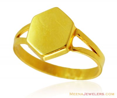 Hexagon Shaped Mens 22K Ring  ( Mens Gold Ring )