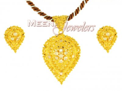 Filigree Pendant Set (22Kt Gold) ( Gold Pendant Sets )