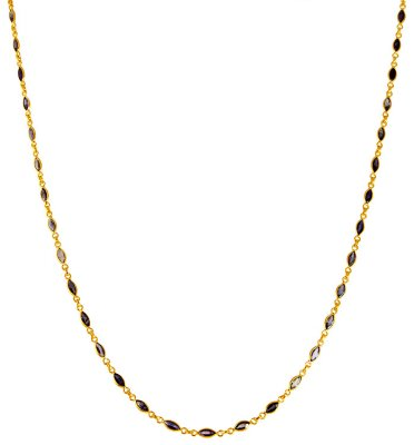 22K Gold Blue Sapphire Mala ( 22Kt Gold Fancy Chains )
