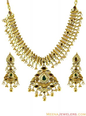 22K Kundan And Pearls Necklace Set ( Antique Necklace Sets )