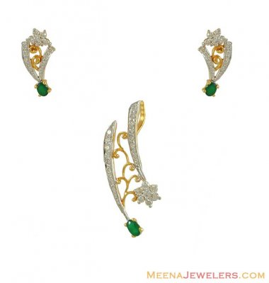 Designer Diamond Pendant Set (with Modifications) ( Diamond Pendant Sets )