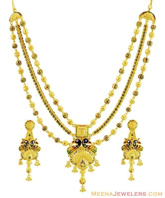 22K Layered Chain Peacock Set ( 22 Kt Gold Sets )