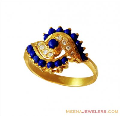 Colored Stones CZ Ring 22k  ( Ladies Rings with Precious Stones )