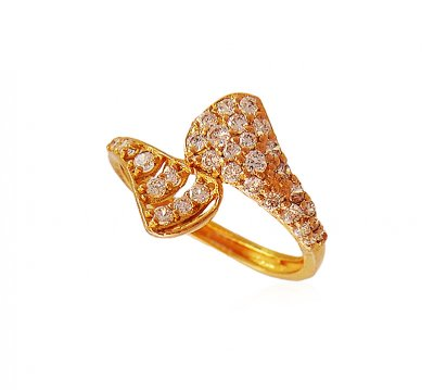 Stylish 22k Gold Ring with stones ( Ladies Signity Rings )