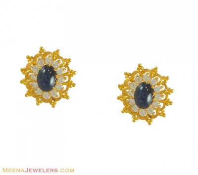 Gold Earrings with CZ ( Precious Stone Earrings )