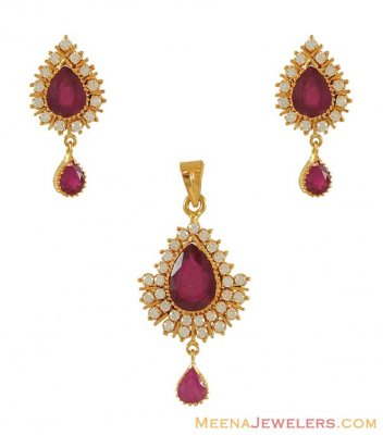 Ruby and Cz Pendant and Earring set ( Precious Stone Pendant Sets )