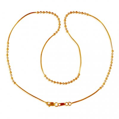 22k Gold Two Tone Ball Chain ( 22Kt Gold Fancy Chains )