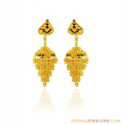 22k Meenakari Chandelier Earrings ( 22Kt Gold Fancy Earrings )