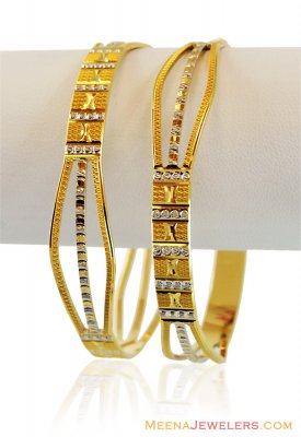 Fancy 2 Tone Rhodium Bangles 22k ( Two Tone Bangles )
