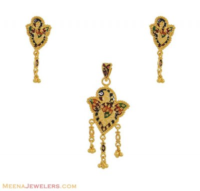 Fancy Peacock Pendant Set (22K) ( Gold Pendant Sets )
