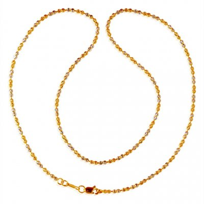 22kt Two Tone Gold Balls Chain ( 22Kt Gold Fancy Chains )