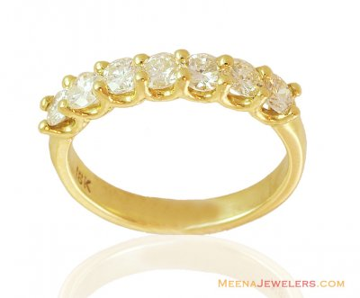 7 Stone Solitaire Band 18k Gold ( Diamond Rings )