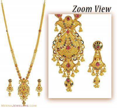 22K Bridal Necklace, Earrings Set ( Bridal Necklace Sets )