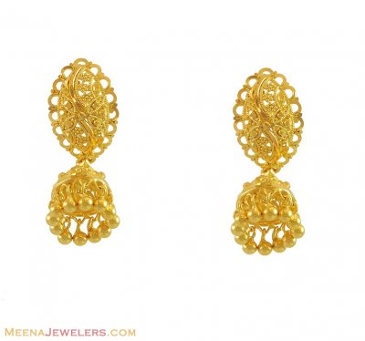 22K Designer Jhumki Earrings  ( 22Kt Gold Fancy Earrings )