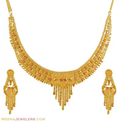 22k Necklace Set (Tricolor) ( 22 Kt Gold Sets )