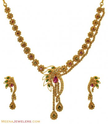 22Kt Gold Designer Polki Set ( Diamond Necklace Sets )