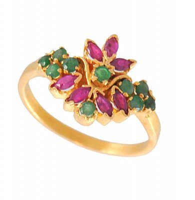 Gold Ring with Emerald and Ruby ( Ladies Rings with Precious Stones )