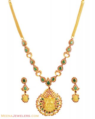 22k Gold Temple Necklace Set ( Antique Necklace Sets )