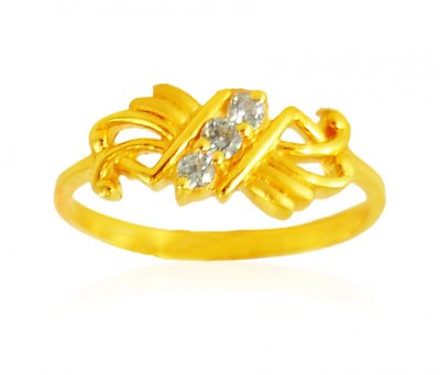22Kt Gold Cubic Zircon Ring ( Ladies Signity Rings )