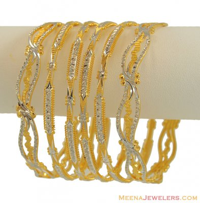 Set of 6 Bangles (22K Gold) ( Two Tone Bangles )