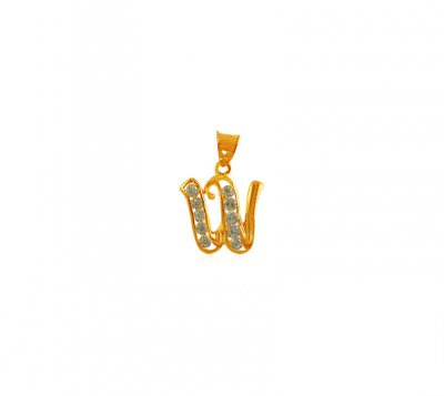 Gold Pendant with Initial (W) ( Initial Pendants )