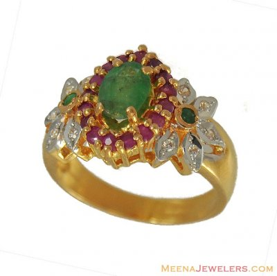 22Kt Ruby, Emerald CZ Ring ( Ladies Rings with Precious Stones )