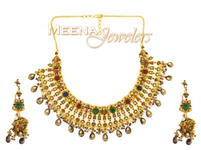 22Kt Antique Gold Necklace Set ( Antique Necklace Sets )