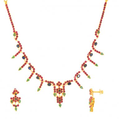 22Kt Gold Ruby, Emerald and Sapphire Set ( Combination Necklace Set )
