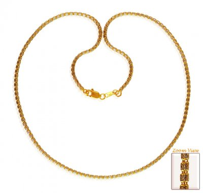 22 Karat Gold Two Tone Chain 18In ( 22Kt Gold Fancy Chains )