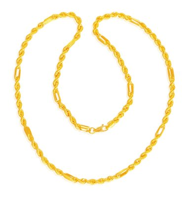 22k Hollow Cartier Rope Chain ( Men`s Gold Chains )