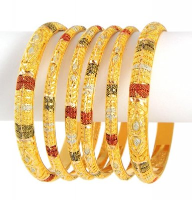 22kt Three Tone Bangles (set of 6) ( Set of Bangles )